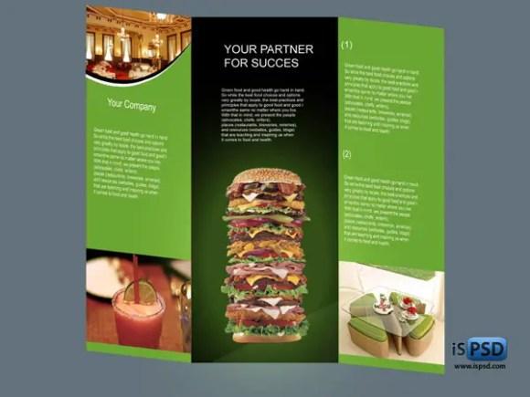 Tri-Fold Food Brochure Template PSD