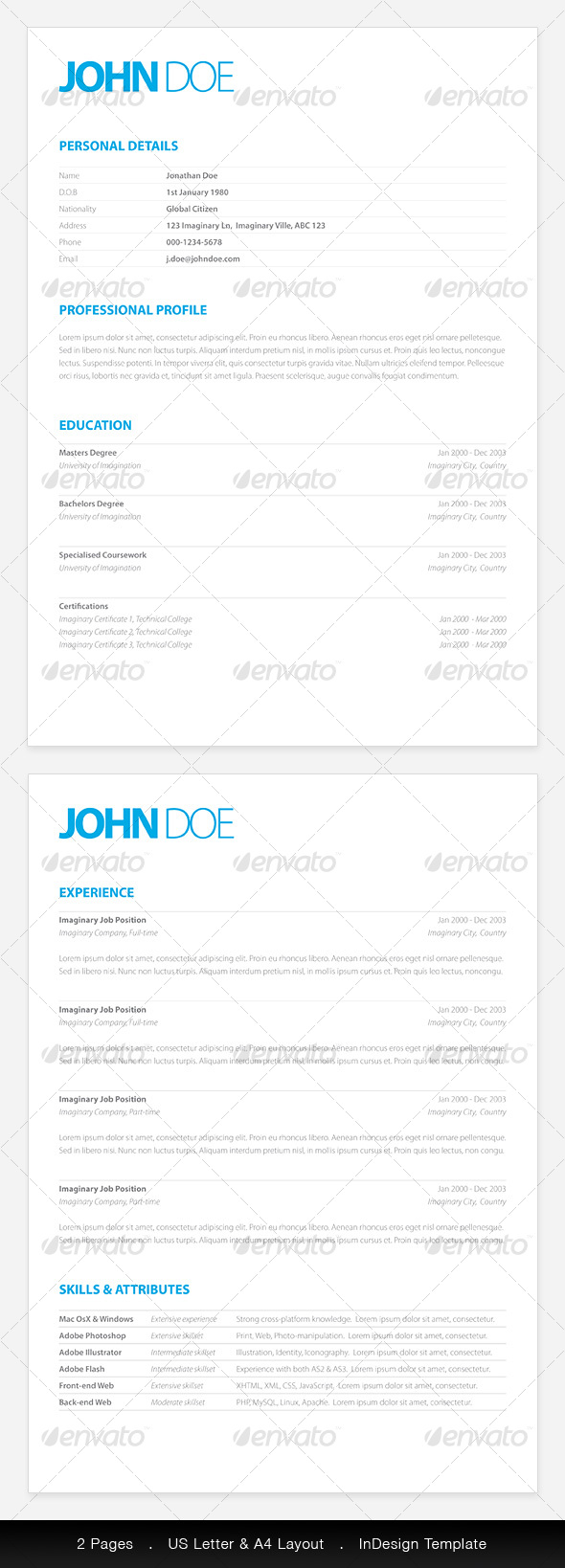 Clean Elegant Resume  PSD