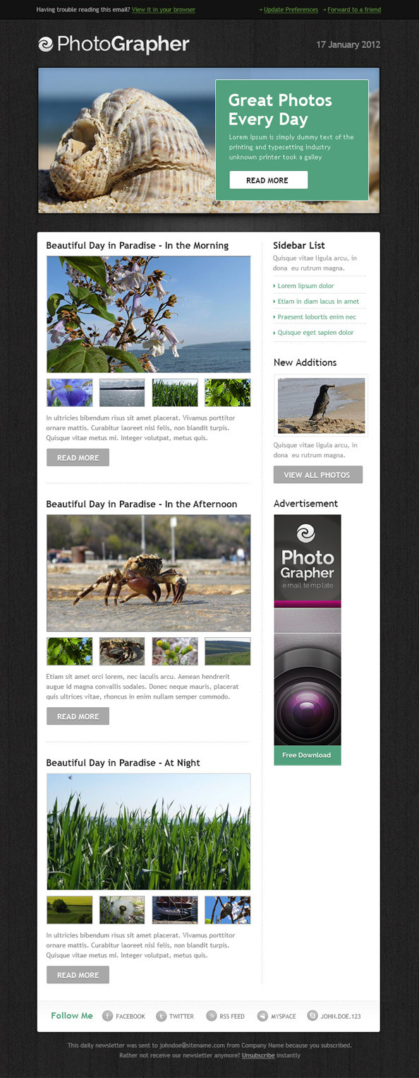 html edm template - 36 best email newsletter templates free psd html