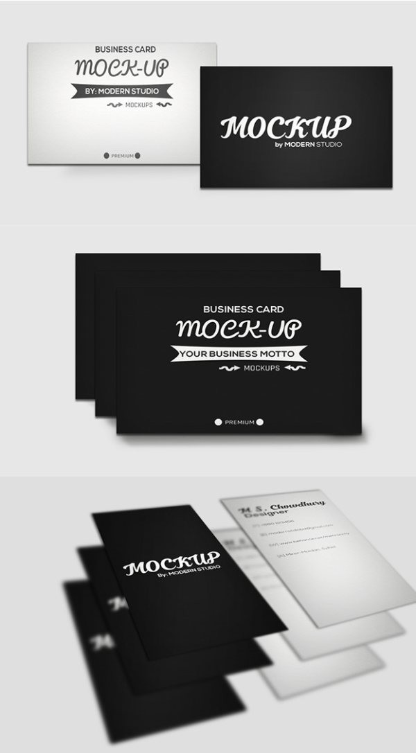 Three Free Business Card Mockups