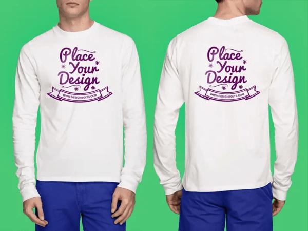 White T-Shirt Mockup PSD - Full Sleeves