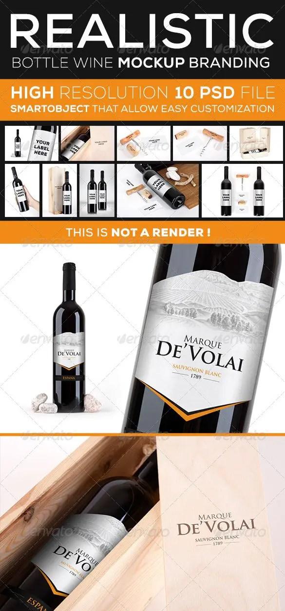 Wine Bottle Branding Mockup