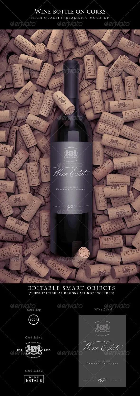 Wine Bottle on Corks Mockup