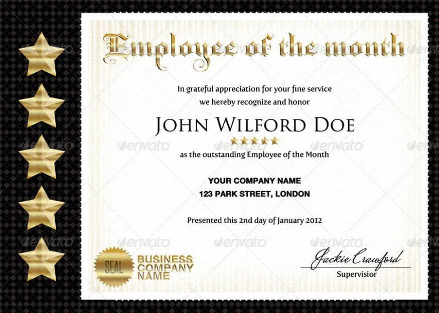 business company certificates templates - Certificate Of Employee Of The Month Template