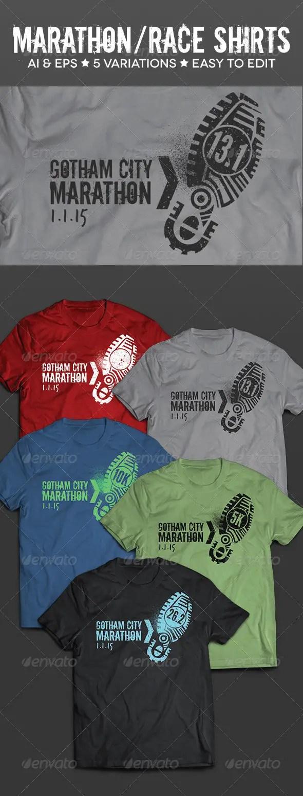 Race & Marathon Running T-Shirts Mockup