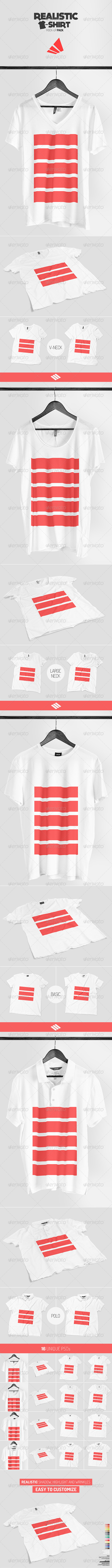 Realistic T-shirt Mock-up Pack