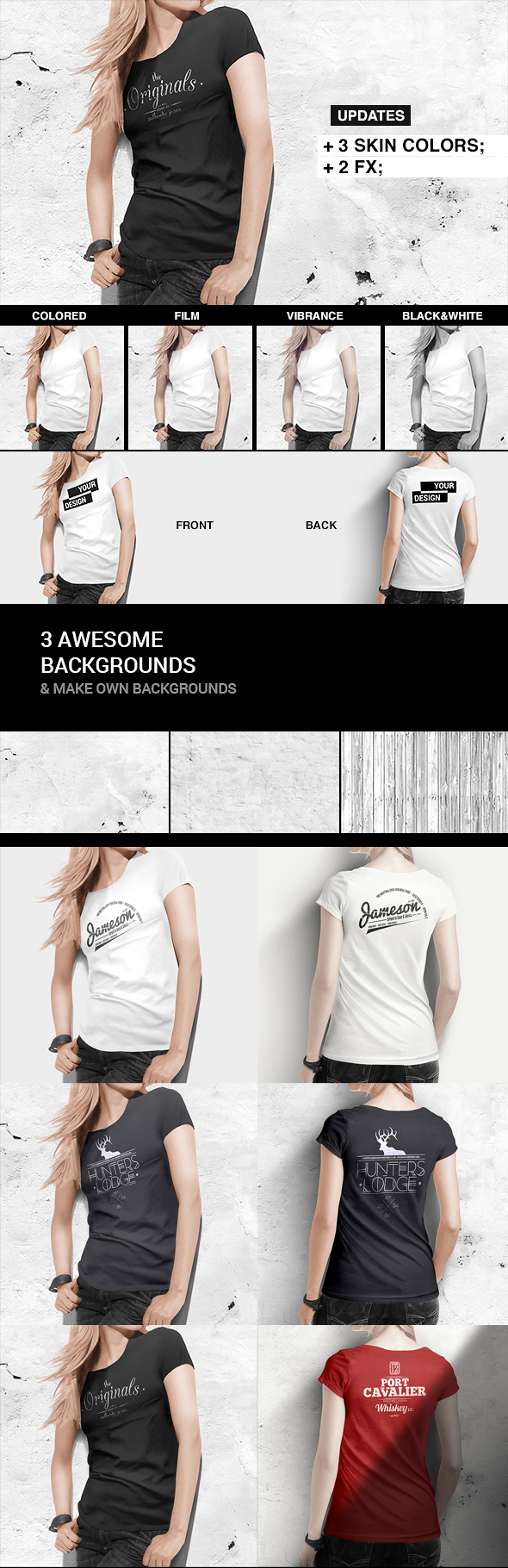 T-shirt / Tank Shirt Bundle Mockup Template