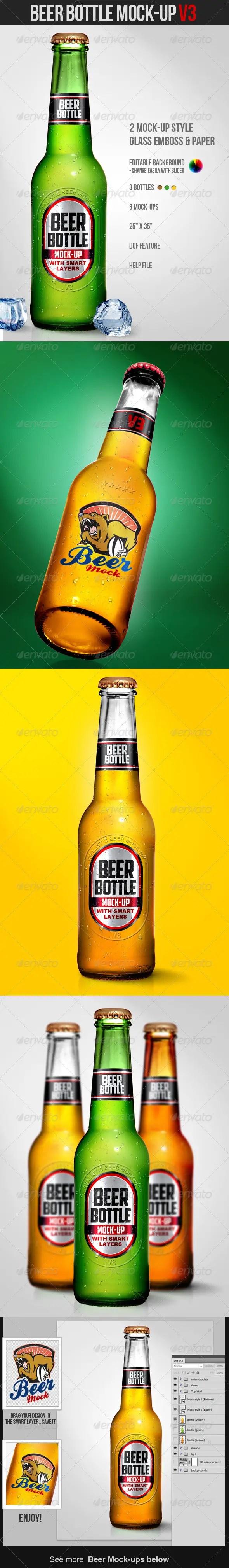 Beer Bottle Mockup V3