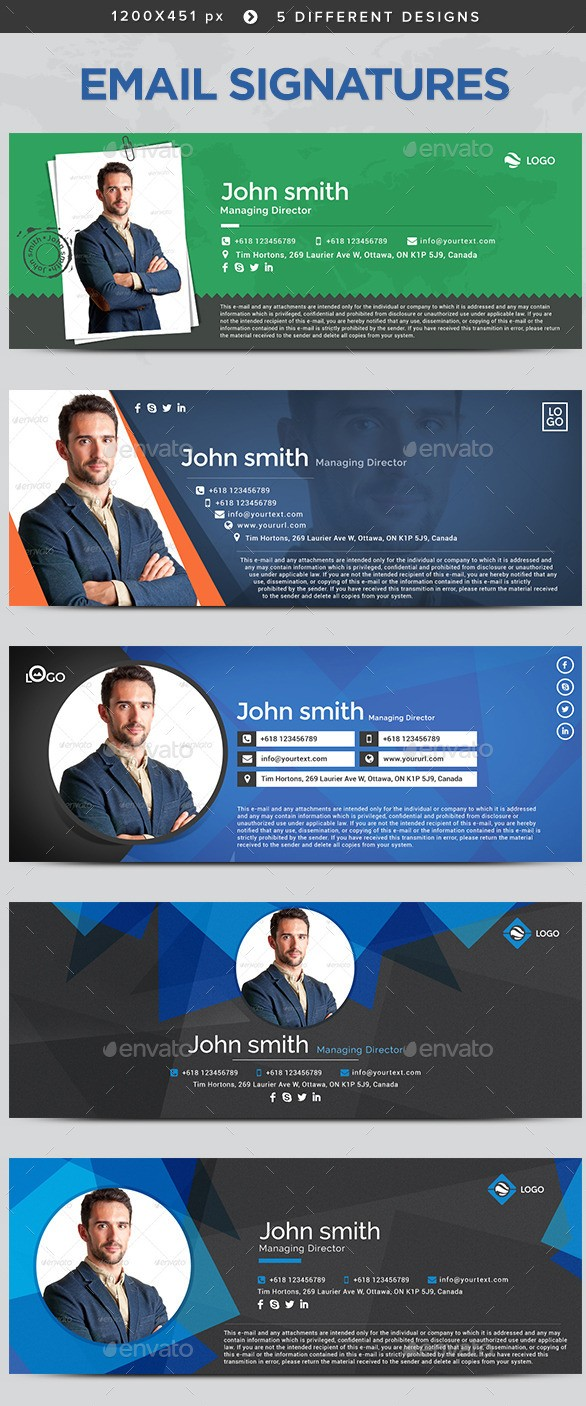 Email Signature Templates - 5 Designs