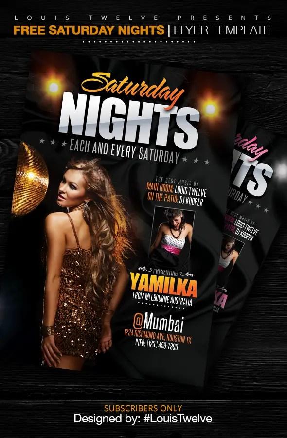 Saturday Nights Flyer Template