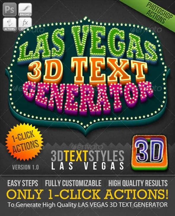 1-Click Action: Las Vegas 3D Text Generator