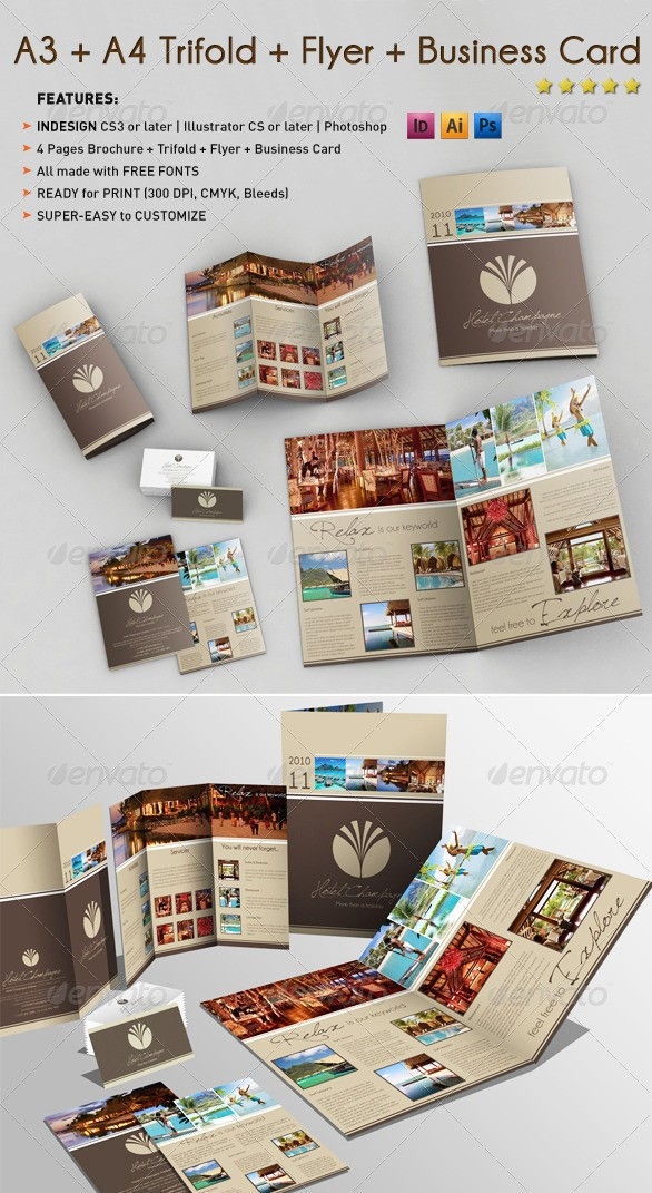 A3 + A4 Tri-fold Brochure Templates with Business Card