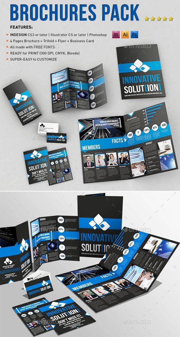 A4 and Tri-fold Brochure Templates Pack With Business Card