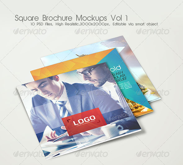 Square Brochure Mockups Vol 1