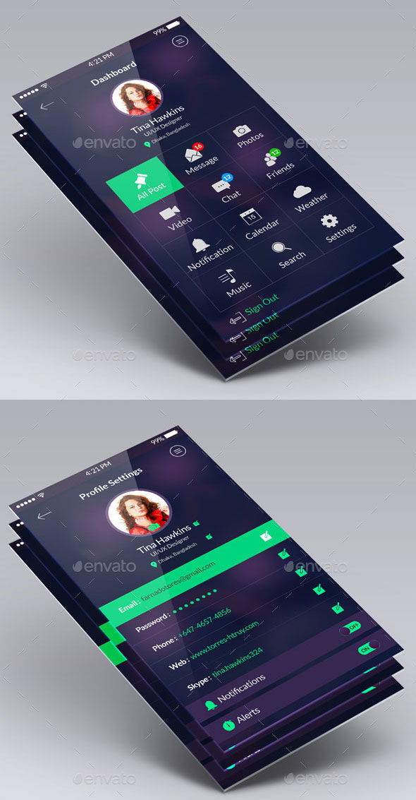 Clean Flat App UI Design Kit