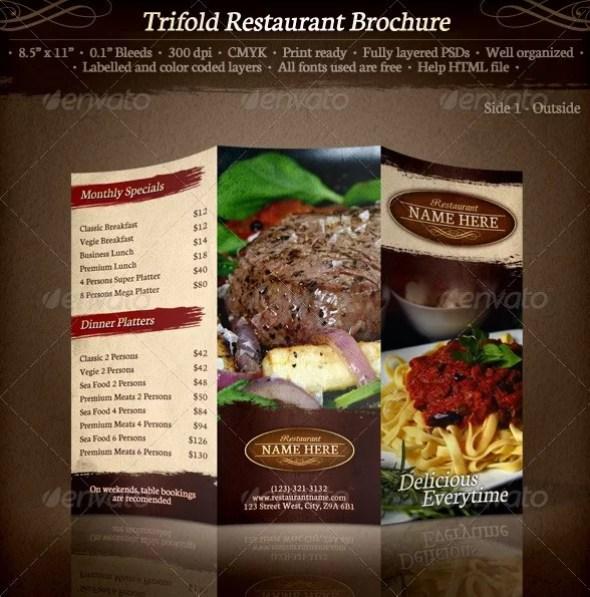 Tri-Fold Restaurant Brochure Template