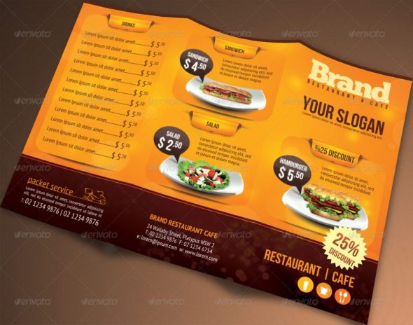 Tri-fold Brochure Restaurant Cafe Menu PSD Template