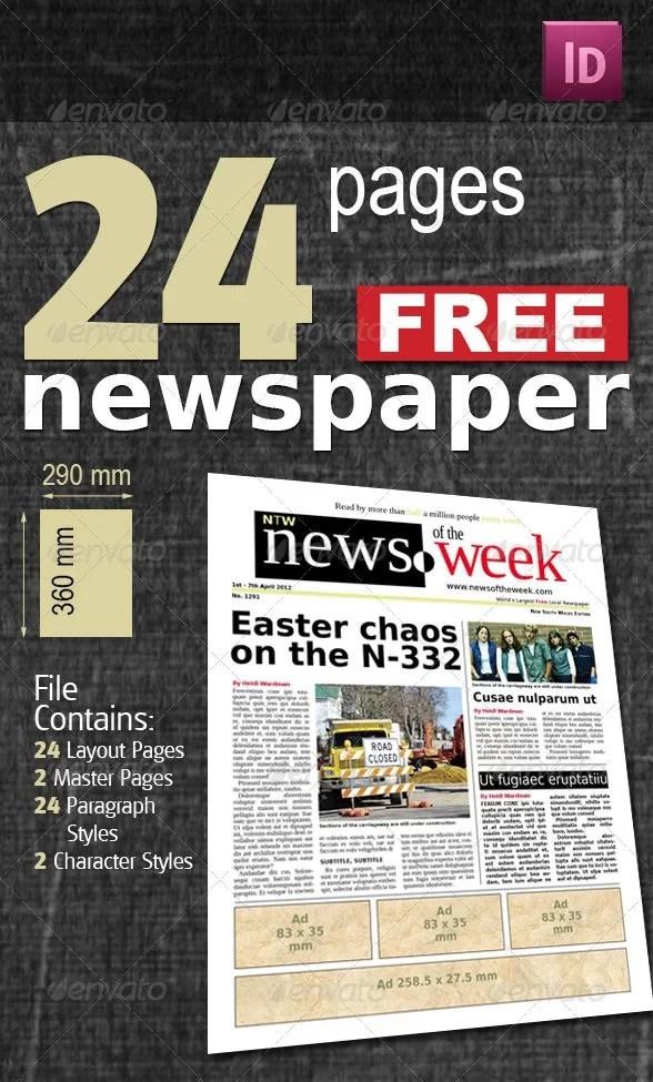 Indesign Newspaper Template Free Download Roho4senses