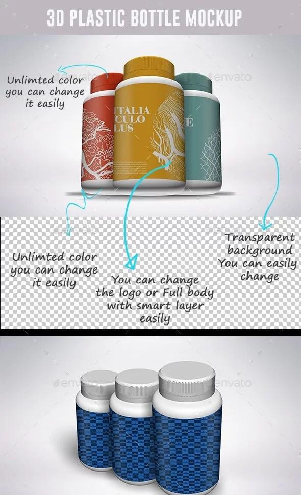 3D Vitamin and Pill Bottle Mockups