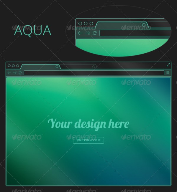 7 Flat Transparent Holographic Browser Mockups