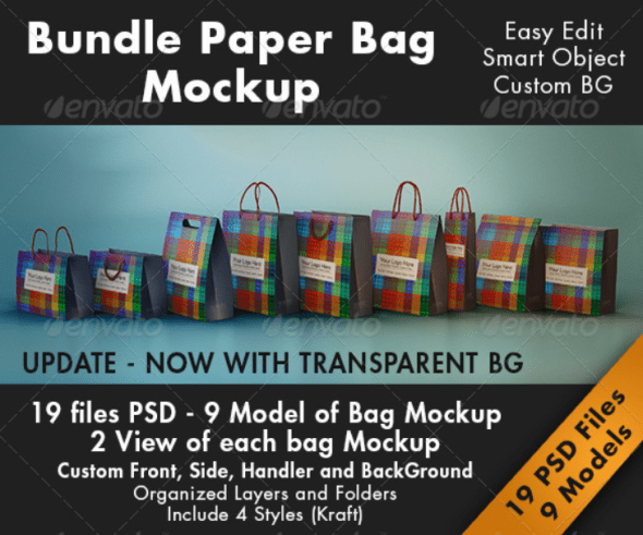 Bundle Paper Bag Mockup