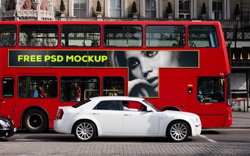 FREE London Bus PSD Mockup