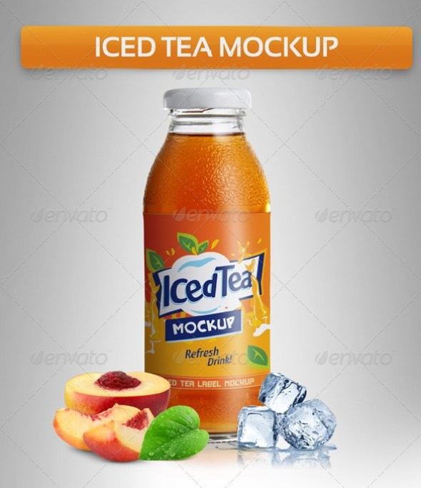Juice or Iced Tea Bottle Mockup