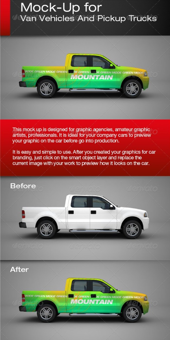 Van Vehicles And Pickup Trucks Mockup