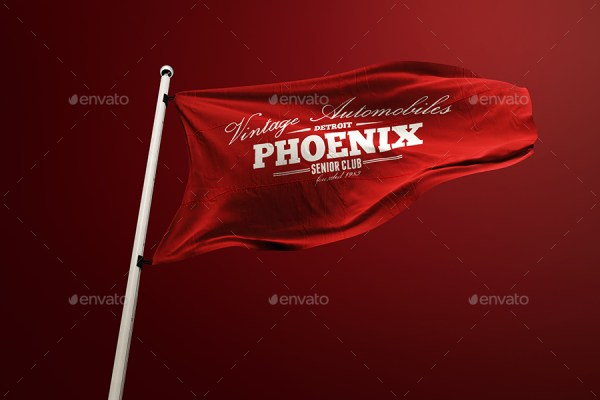 10 Realistic 3D Flag Mockup