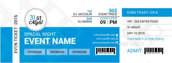 Print Ready Ticket Templates PSD For Various Types Of Events - Event ticket template photoshop