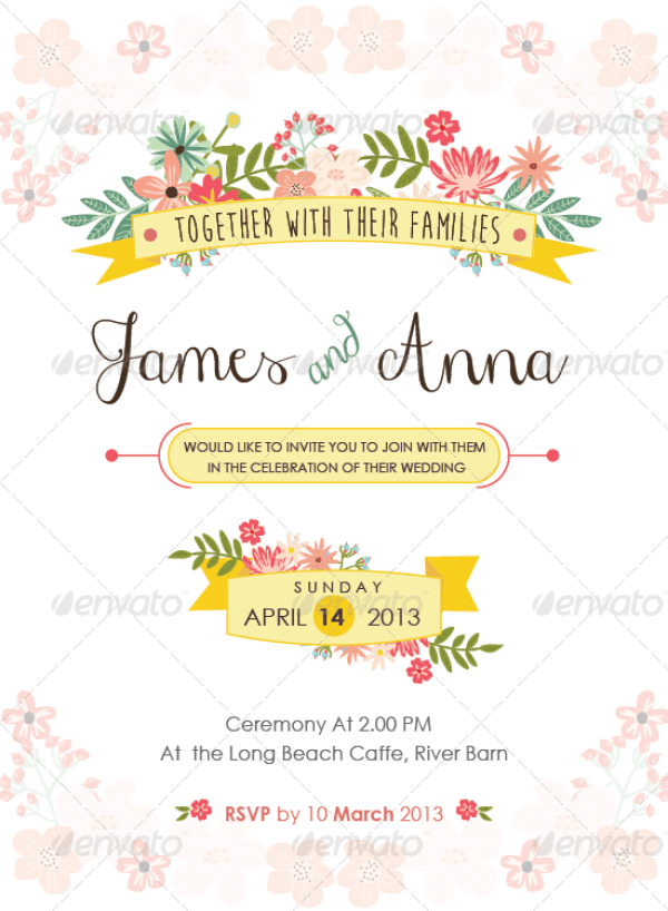 Floral Wedding Invitation Package