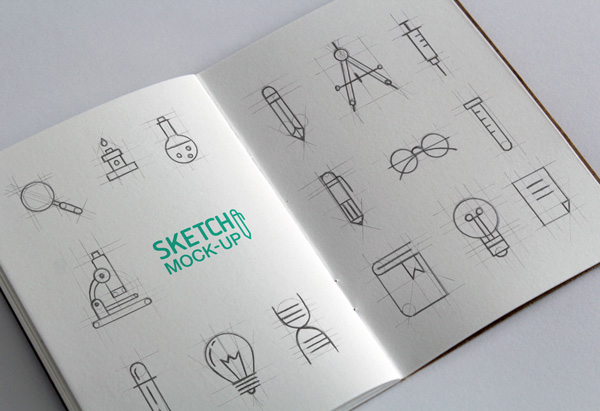Free PSD Realistic Sketch Book Mockup