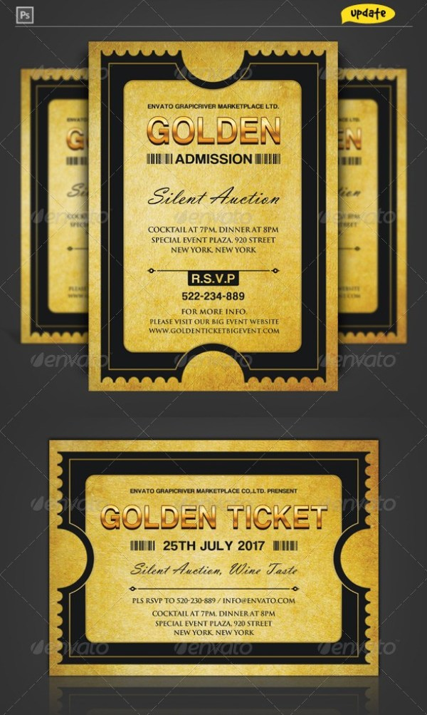 Golden Silver Ticket Template