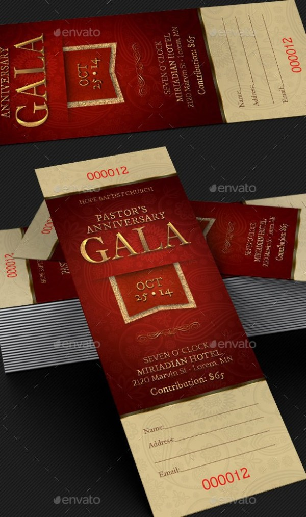 Pastor Anniversary Gala Ticket Template