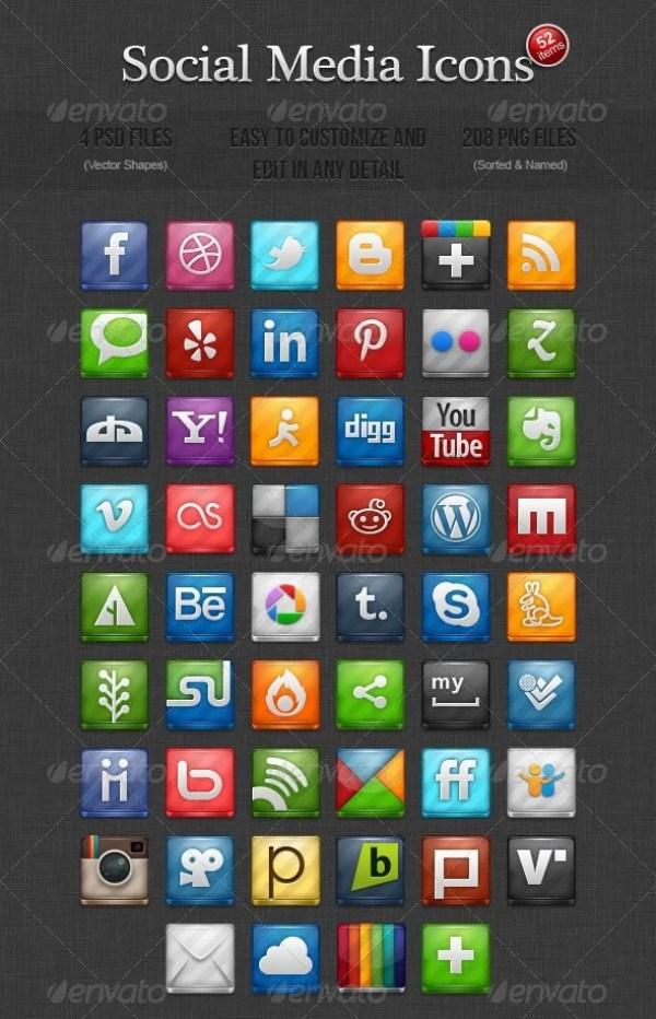 52 Social Media Icons
