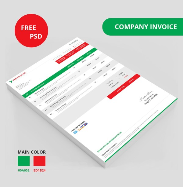 Invoice Templates PSD DOCX INDD Free Download PSDTemplatesBlog - Creative invoice template free download