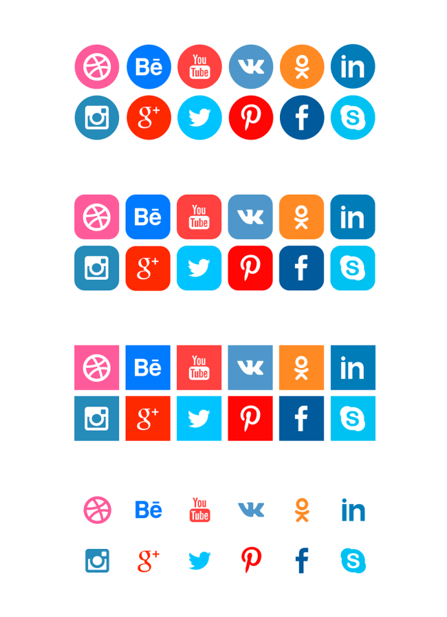 Free Social Network Icons - 4 Options and Long Shadows