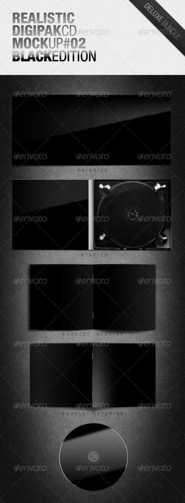 Realistic Digipak CD Mockup #02 Black Edition