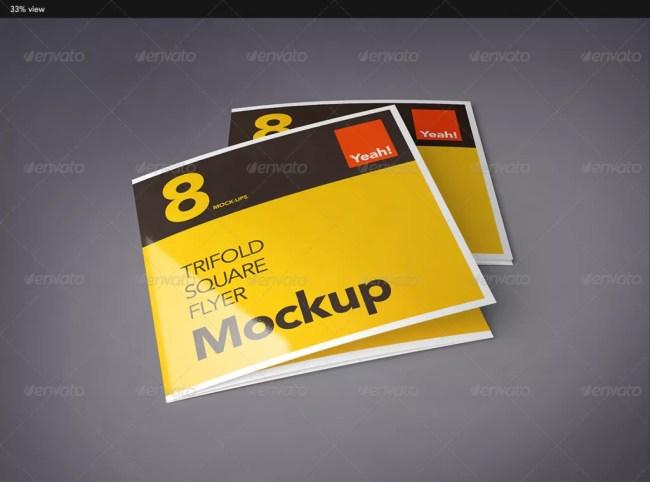 Square Tri-Fold Flyer Mockup