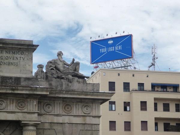 3 Photorealistic Rooftop Billboard Mockups