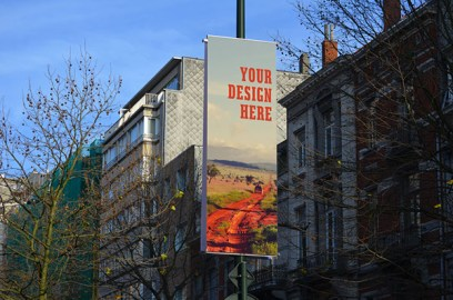 Free city billboard mockup