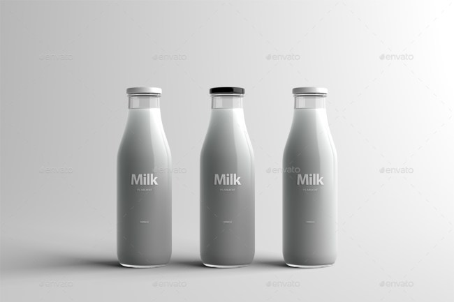 Milk Bottle Packaging Mock-Up