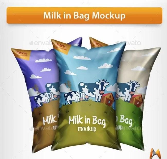 Milk in Bag Mockup