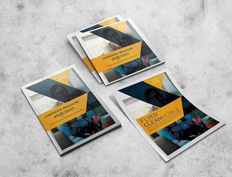 premium business brochure psd template mockup