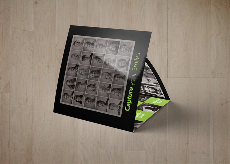 square trifold corporate flyer brochure premium template psd mockup