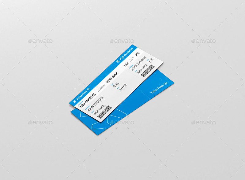 beautiful premium plane ticket mock-up psd template