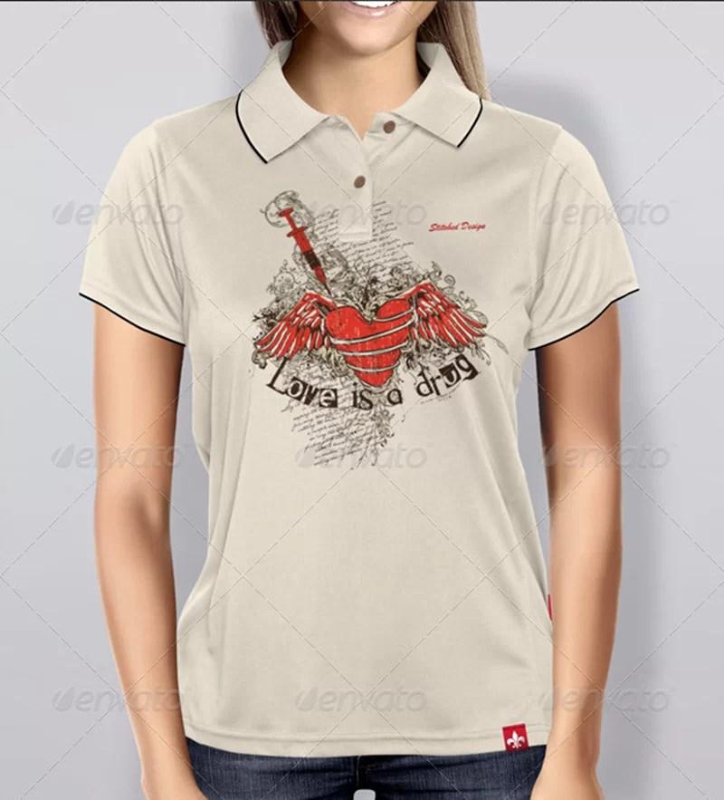 nicely designed women polo shirt mockup psd