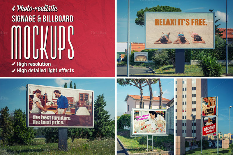 premium outdoor advertising signage and billboard mockups psd