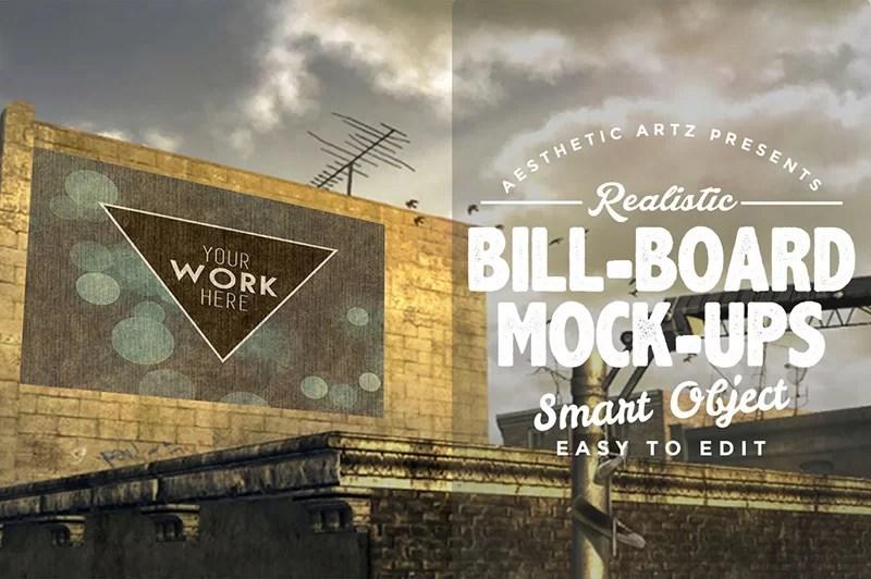 free realistic outdoor advertising billboard mockups psd