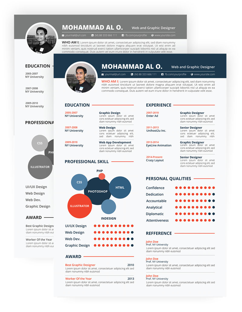free download cool PSD resume templates